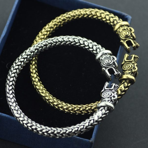 viking wolf head bracelets