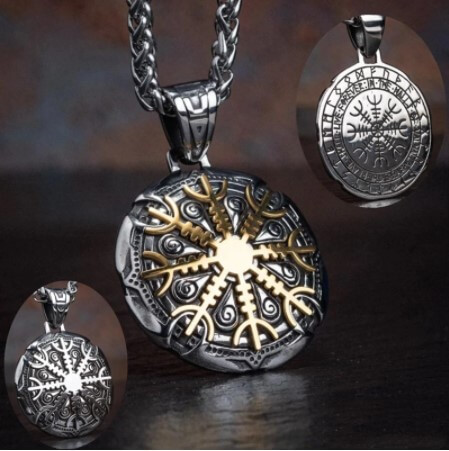 Stainless Steel Nordic Viking Compass Pendant Necklace