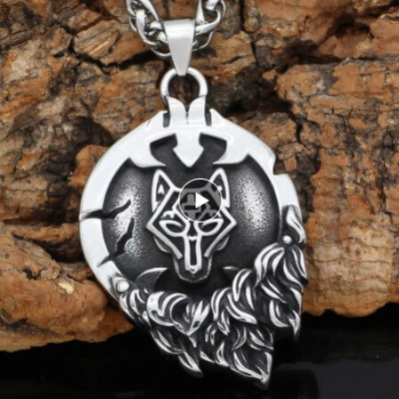 Nordic Viking Fenrir Wolf Rune necklace with viking gift bag