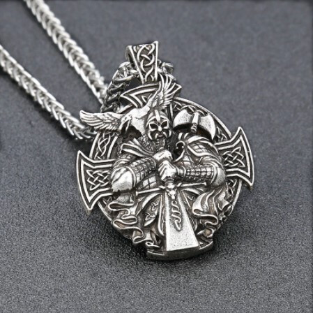 Color Viking Odin Anchor Necklace Norse