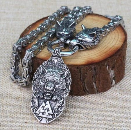 Viking Men necklace viking wolf head with norse Fenrir
